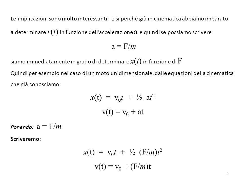 a = F/m x(t) = v0t + ½ at2 v(t) = v0 + at x(t) = v0t + ½ (F/m)t2