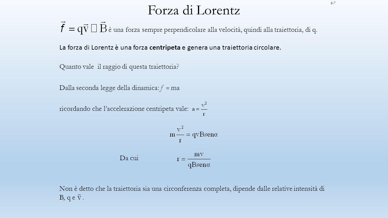 Forza di Lorentz 6-7. è una forza sempre perpendicolare alla velocità, quindi alla traiettoria, di q.
