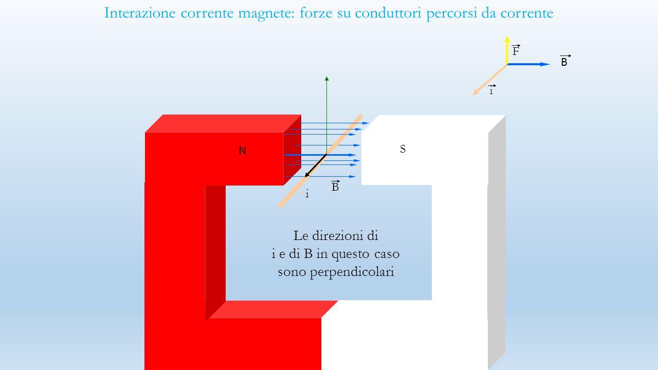 Interazione corrente magnete: forze su conduttori percorsi da corrente