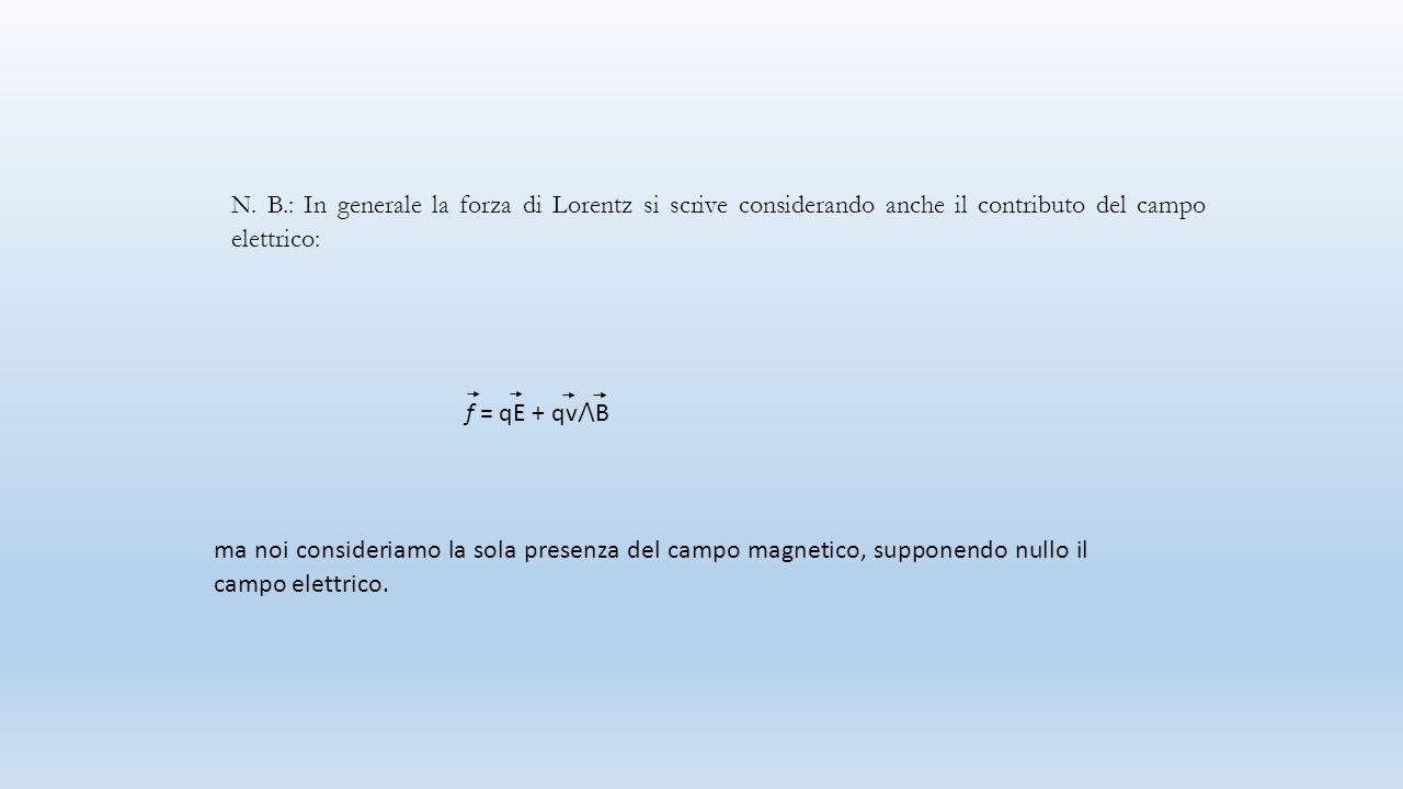 N. B.: In generale la forza di Lorentz si scrive considerando anche il contributo del campo elettrico: