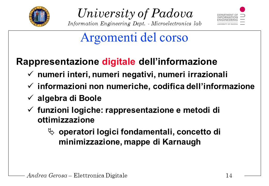 Argomenti del corso Rappresentazione digitale dell'informazione