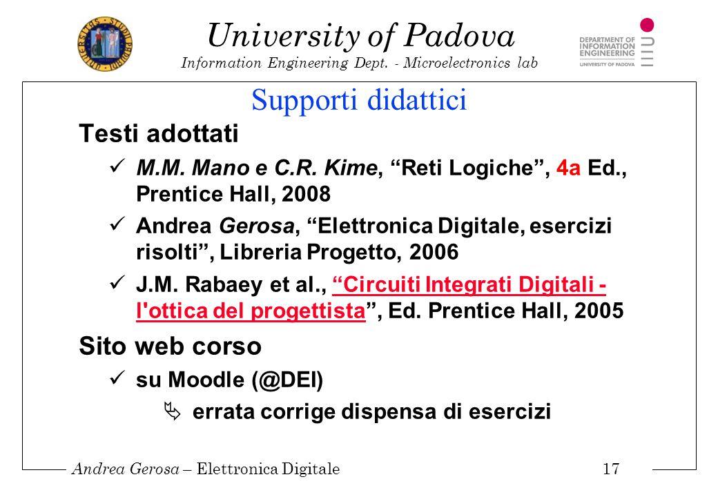 Supporti didattici Testi adottati Sito web corso