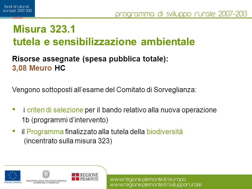 Misura 323.1 tutela e sensibilizzazione ambientale