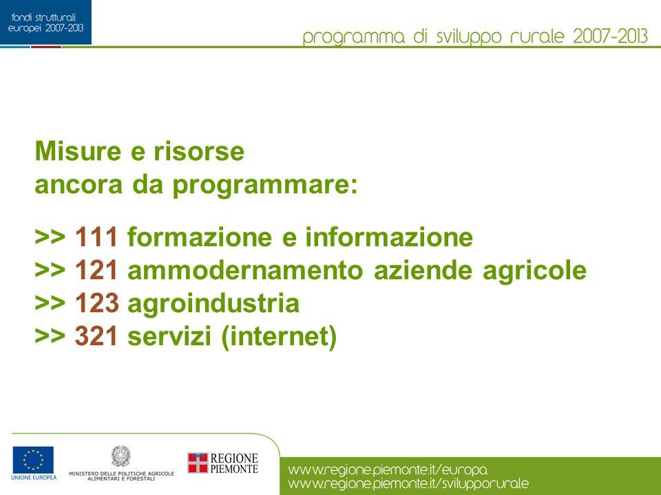 Misure e risorse ancora da programmare: >> 111 formazione e informazione >> 121 ammodernamento aziende agricole >> 123 agroindustria >> 321 servizi (internet)