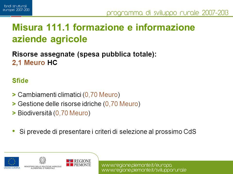Misura 111.1 formazione e informazione aziende agricole