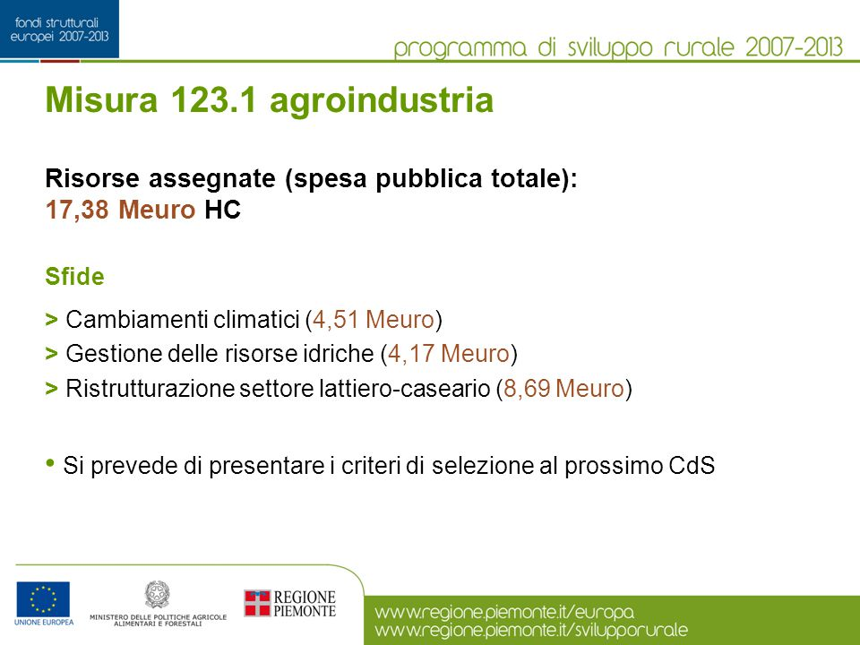 Misura 123.1 agroindustria