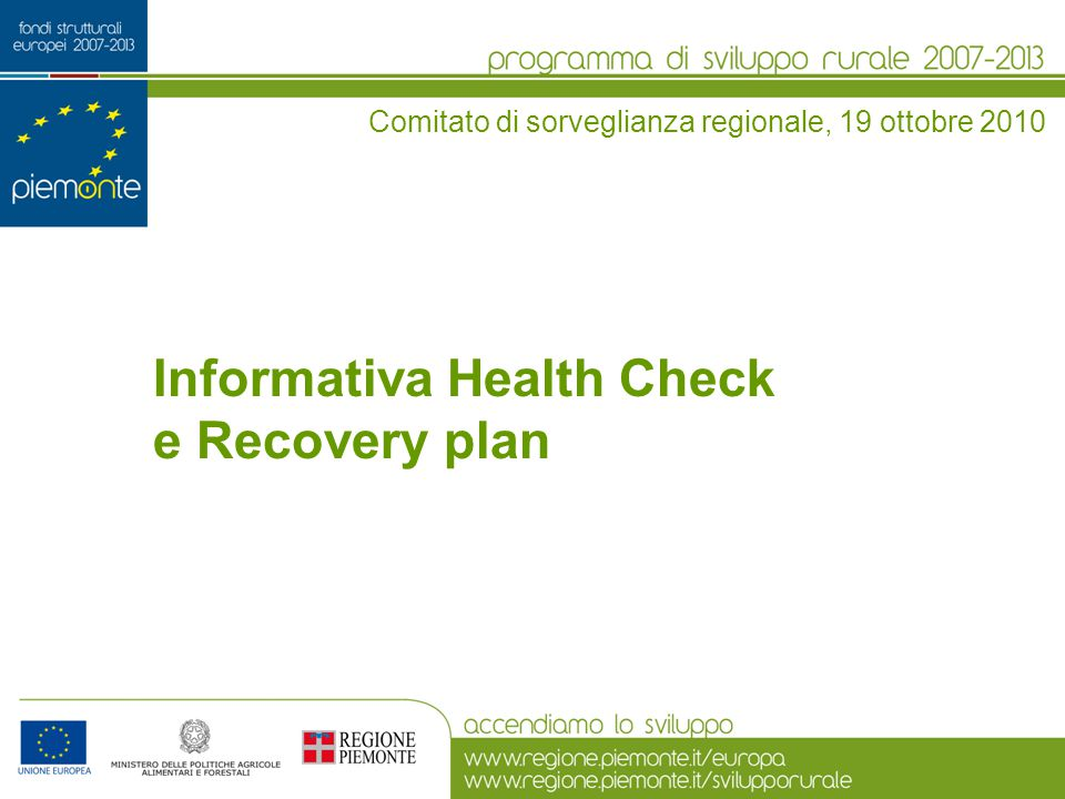 Informativa Health Check e Recovery plan