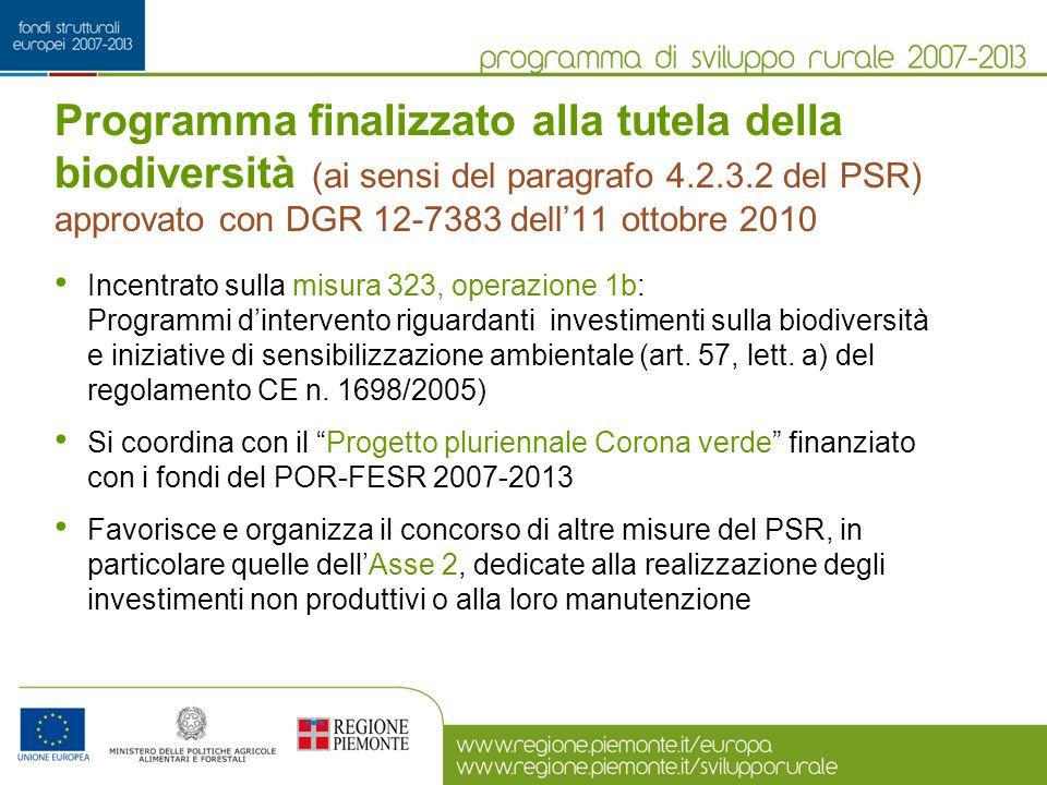 Programma finalizzato alla tutela della biodiversità (ai sensi del paragrafo 4.2.3.2 del PSR) approvato con DGR 12-7383 dell'11 ottobre 2010