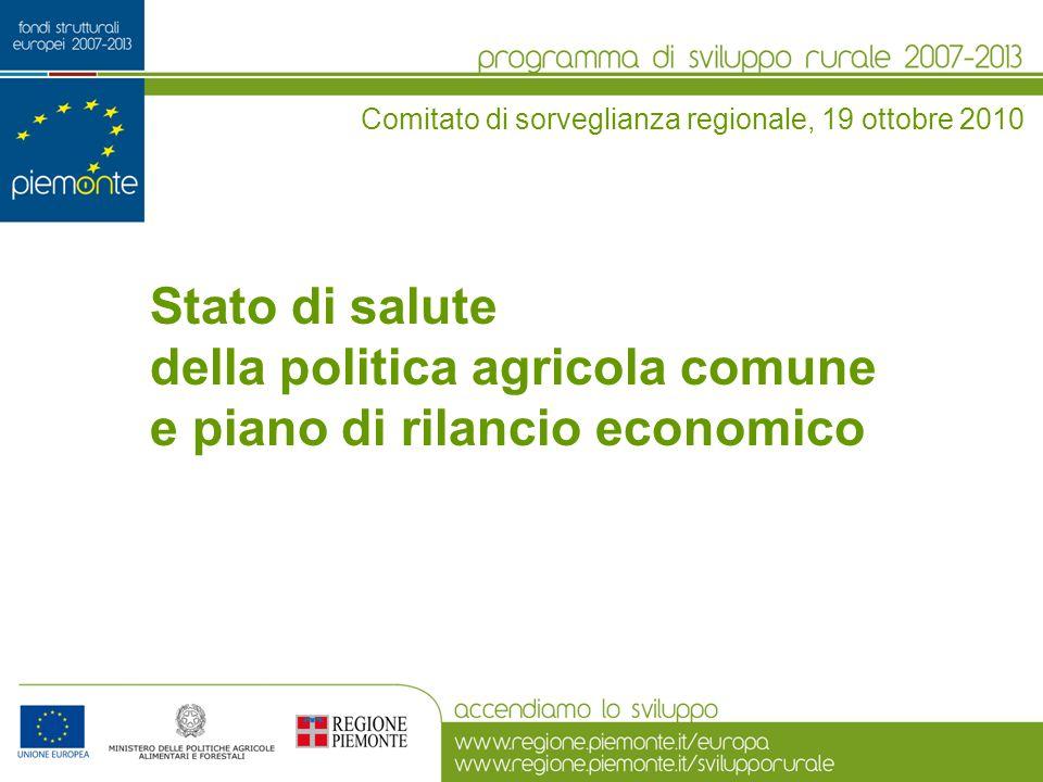 della politica agricola comune e piano di rilancio economico