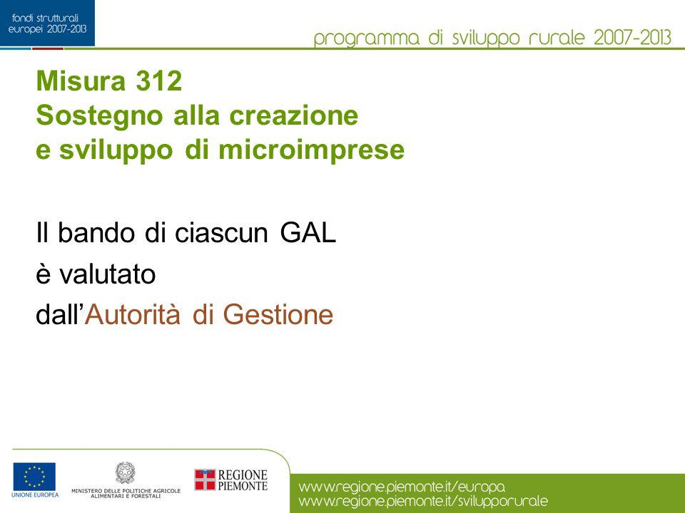 Misura 312 Sostegno alla creazione e sviluppo di microimprese