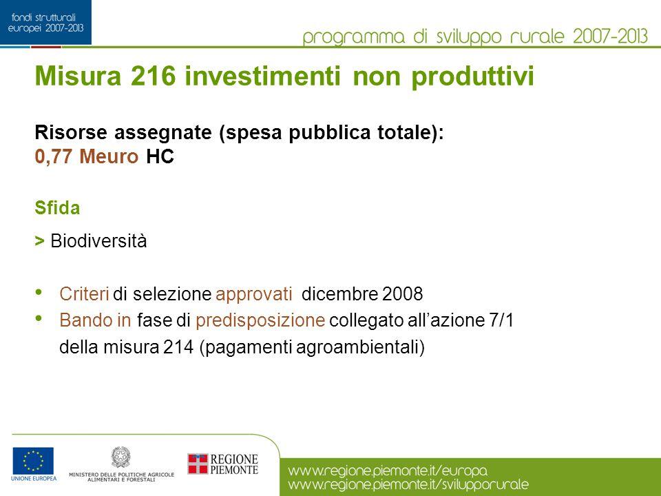 Misura 216 investimenti non produttivi