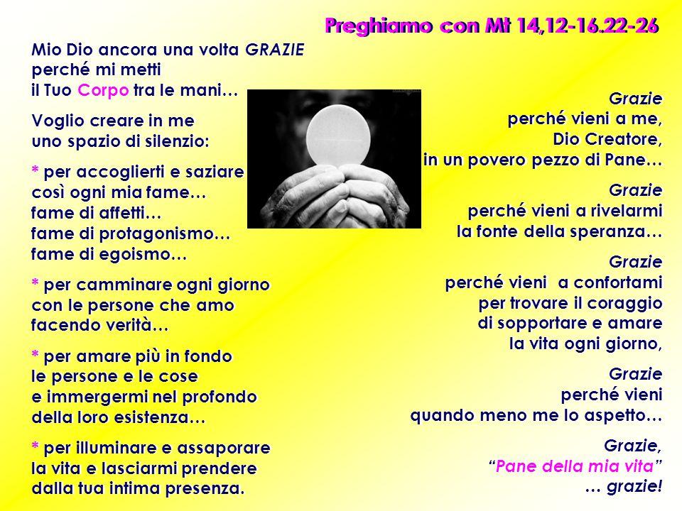 Preghiamo con Mt 14,12-16.22-26 Mio Dio ancora una volta GRAZIE