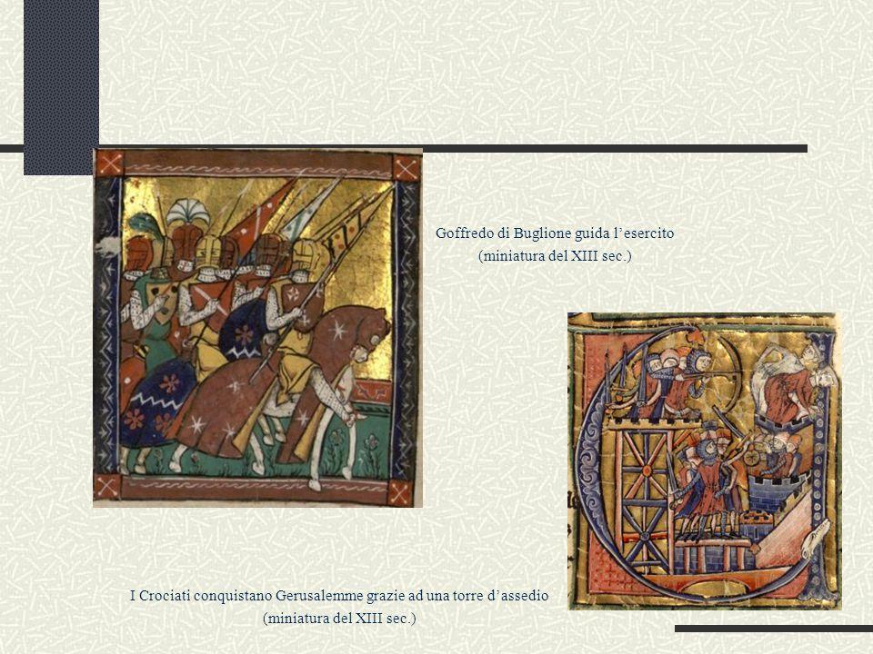 Goffredo di Buglione guida l'esercito (miniatura del XIII sec.)