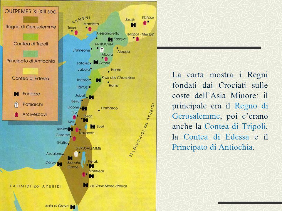La carta mostra i Regni fondati dai Crociati sulle coste dell'Asia Minore: il principale era il Regno di Gerusalemme, poi c'erano anche la Contea di Tripoli, la Contea di Edessa e il Principato di Antiochia.