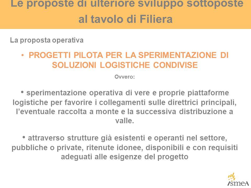 Le proposte di ulteriore sviluppo sottoposte al tavolo di Filiera