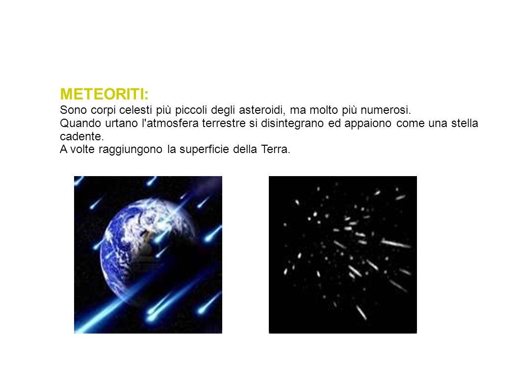 METEORITI: Sono corpi celesti più piccoli degli asteroidi, ma molto più numerosi.