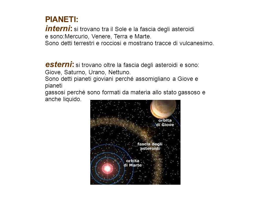 interni: si trovano tra il Sole e la fascia degli asteroidi