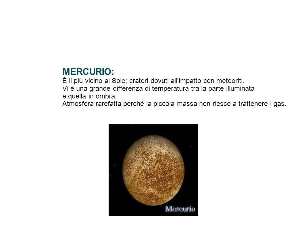 MERCURIO: È il più vicino al Sole; crateri dovuti all impatto con meteoriti. Vi è una grande differenza di temperatura tra la parte illuminata.