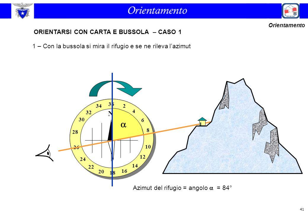  ORIENTARSI CON CARTA E BUSSOLA – CASO 1