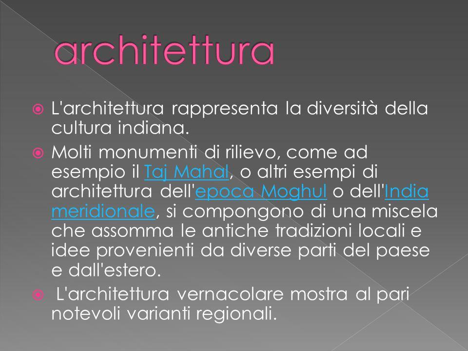 architettura L architettura rappresenta la diversità della cultura indiana.