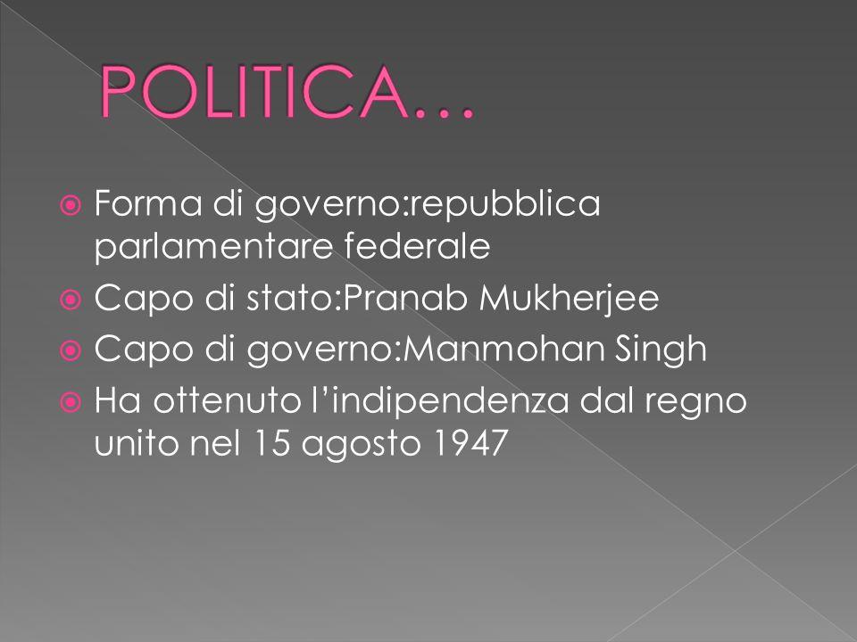 POLITICA… Forma di governo:repubblica parlamentare federale