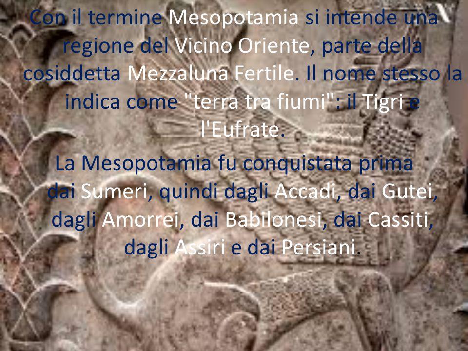 Con il termine Mesopotamia si intende una regione del Vicino Oriente, parte della cosiddetta Mezzaluna Fertile.