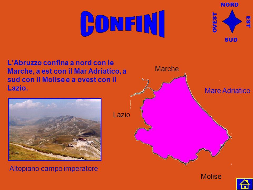 NORD CONFINI. OVEST. EST. SUD. L'Abruzzo confina a nord con le Marche, a est con il Mar Adriatico, a sud con il Molise e a ovest con il Lazio.