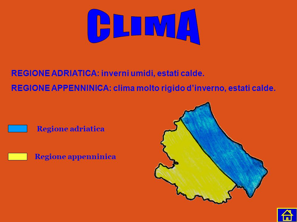CLIMA REGIONE ADRIATICA: inverni umidi, estati calde.
