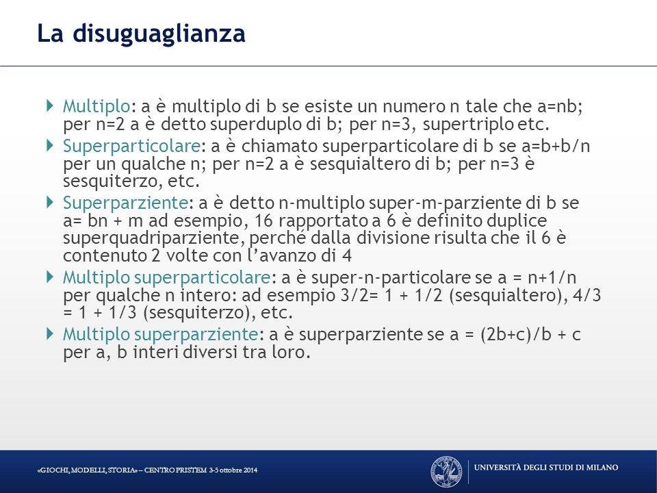La disuguaglianza Multiplo: a è multiplo di b se esiste un numero n tale che a=nb; per n=2 a è detto superduplo di b; per n=3, supertriplo etc.
