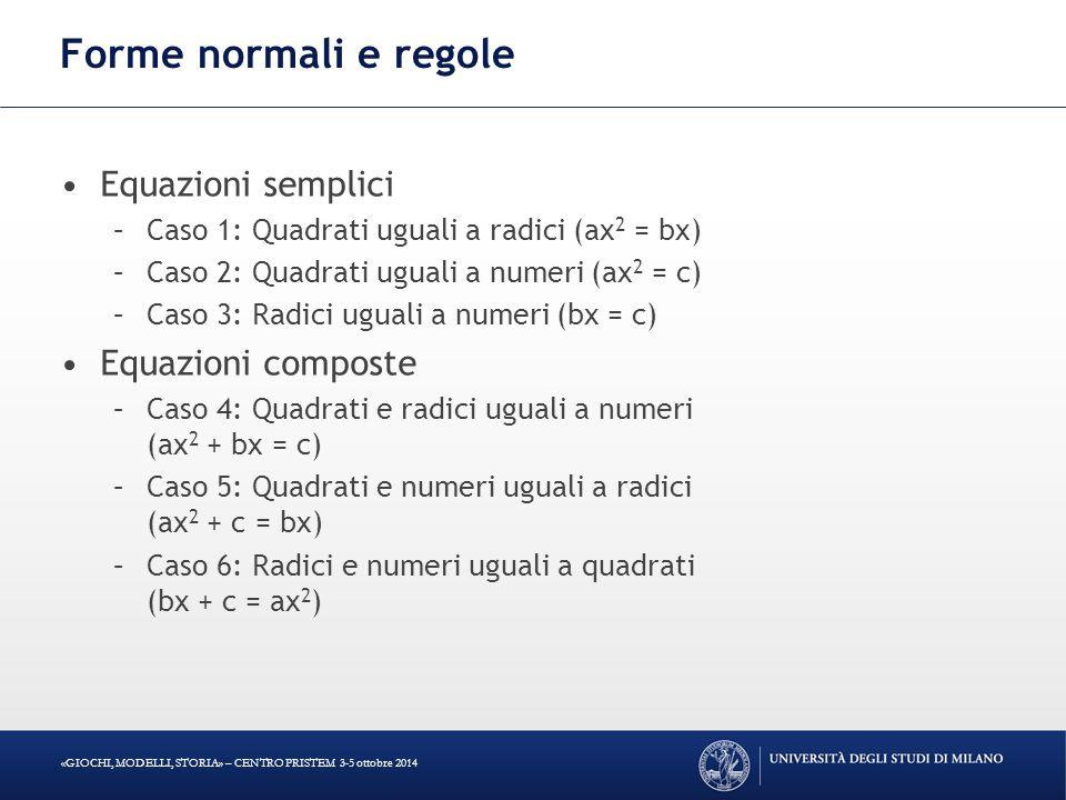 Forme normali e regole Equazioni semplici Equazioni composte