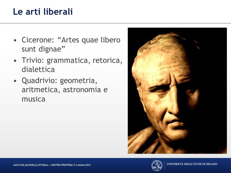Le arti liberali Cicerone: Artes quae libero sunt dignae