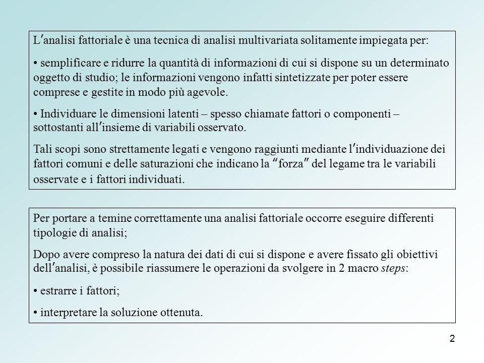L'analisi fattoriale è una tecnica di analisi multivariata solitamente impiegata per: