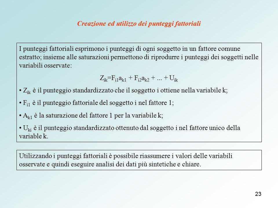 Creazione ed utilizzo dei punteggi fattoriali