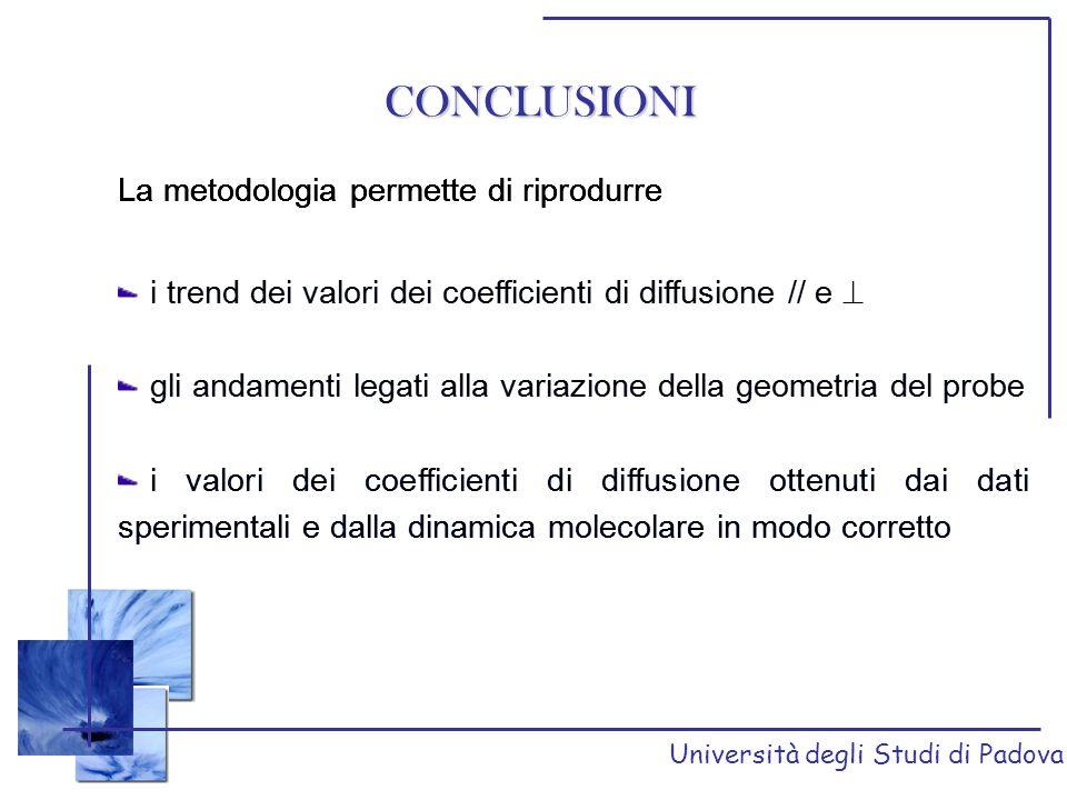CONCLUSIONI La metodologia permette di riprodurre