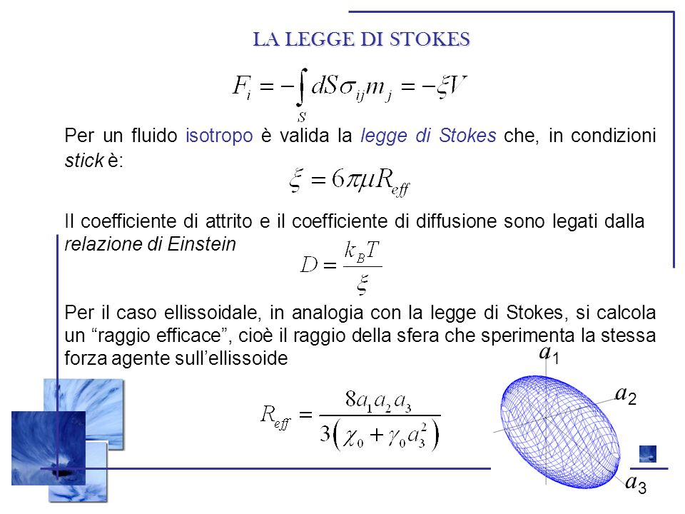 LA LEGGE DI STOKES Per un fluido isotropo è valida la legge di Stokes che, in condizioni stick è: