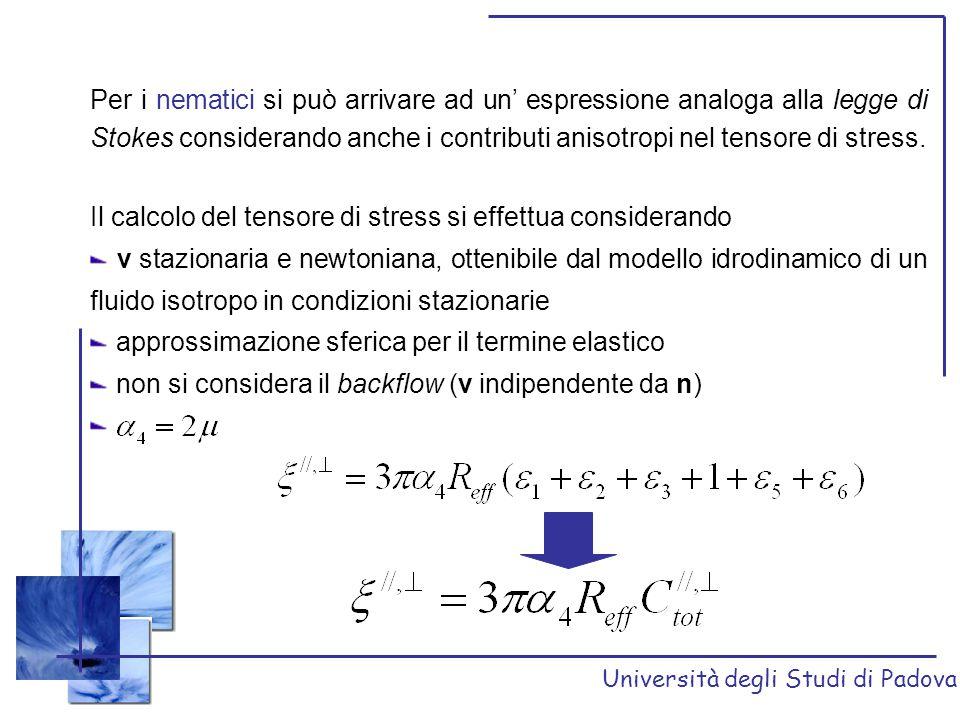 Il calcolo del tensore di stress si effettua considerando