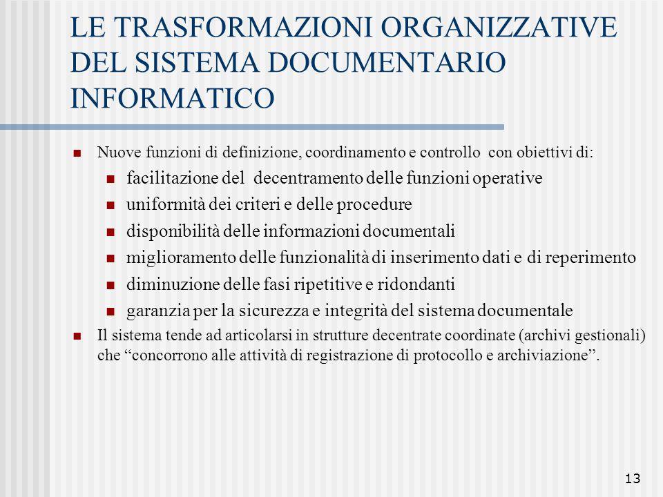 LE TRASFORMAZIONI ORGANIZZATIVE DEL SISTEMA DOCUMENTARIO INFORMATICO