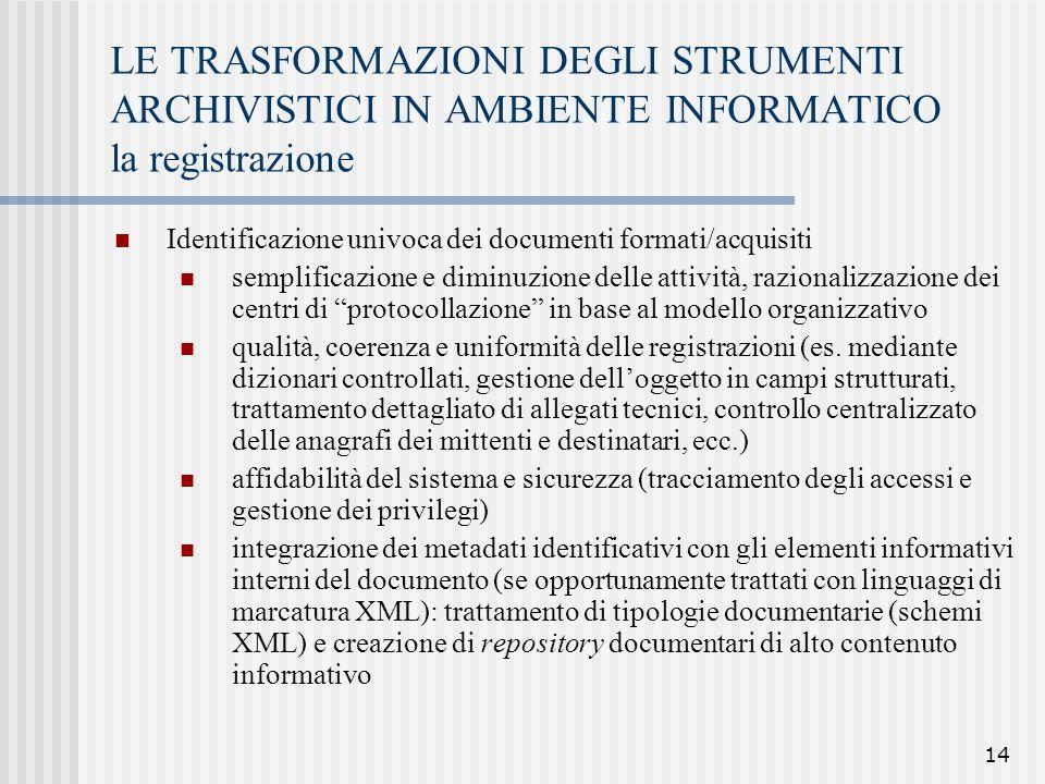 LE TRASFORMAZIONI DEGLI STRUMENTI ARCHIVISTICI IN AMBIENTE INFORMATICO la registrazione