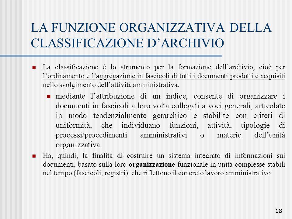 LA FUNZIONE ORGANIZZATIVA DELLA CLASSIFICAZIONE D'ARCHIVIO