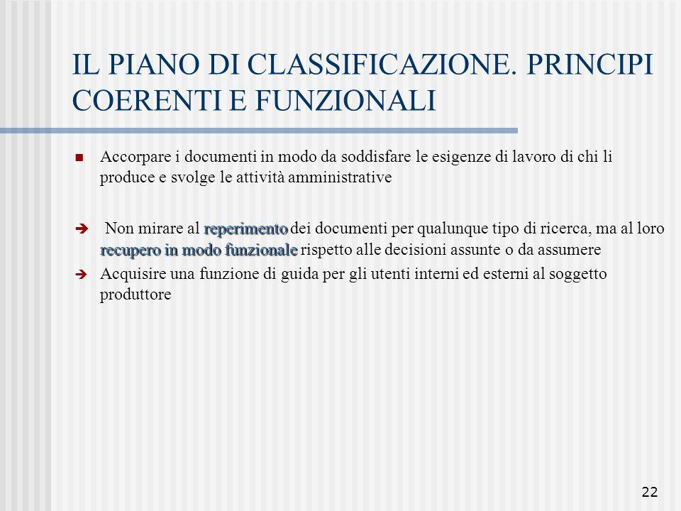 IL PIANO DI CLASSIFICAZIONE. PRINCIPI COERENTI E FUNZIONALI