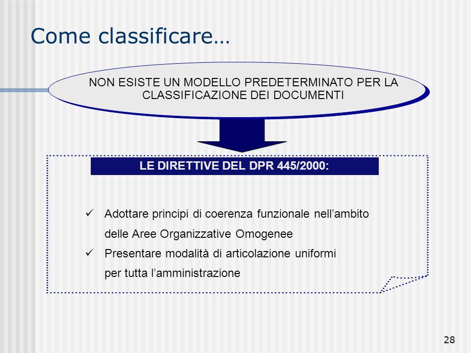 Come classificare… NON ESISTE UN MODELLO PREDETERMINATO PER LA CLASSIFICAZIONE DEI DOCUMENTI. LE DIRETTIVE DEL DPR 445/2000: