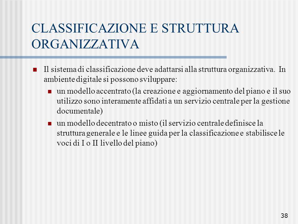 CLASSIFICAZIONE E STRUTTURA ORGANIZZATIVA