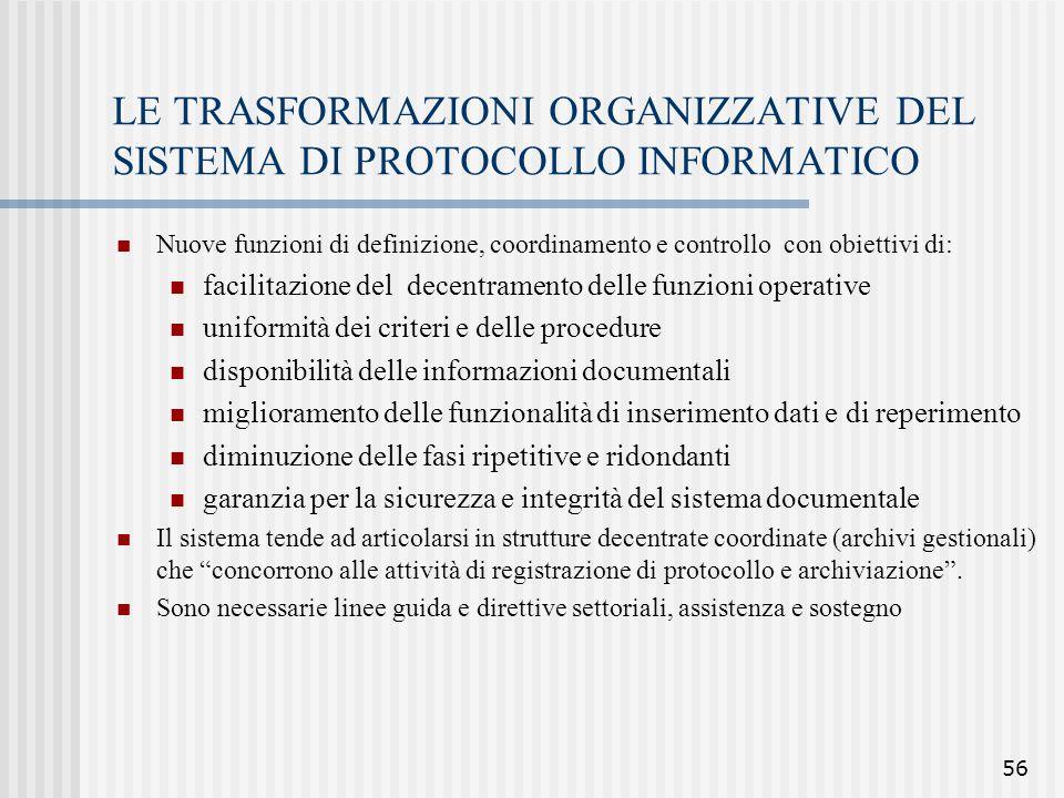 LE TRASFORMAZIONI ORGANIZZATIVE DEL SISTEMA DI PROTOCOLLO INFORMATICO