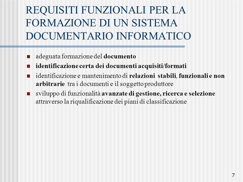 REQUISITI FUNZIONALI PER LA FORMAZIONE DI UN SISTEMA DOCUMENTARIO INFORMATICO