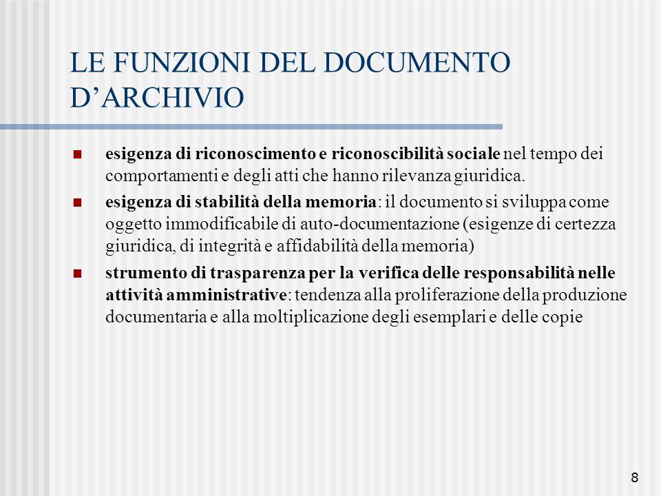 LE FUNZIONI DEL DOCUMENTO D'ARCHIVIO