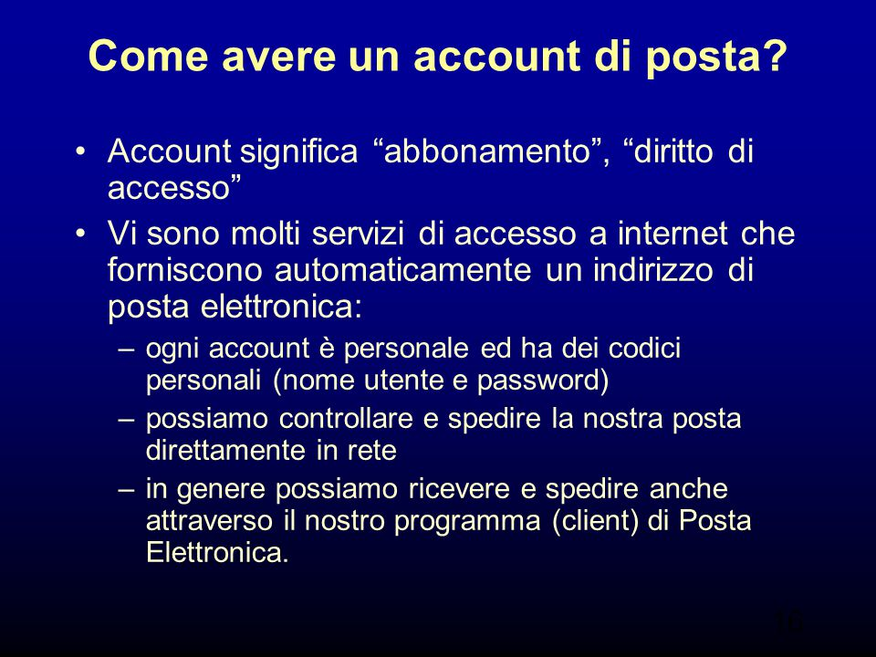 Come avere un account di posta