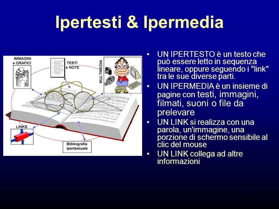 Ipertesti & Ipermedia UN IPERTESTO è un testo che può essere letto in sequenza lineare, oppure seguendo i link tra le sue diverse parti.