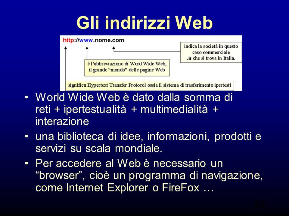 Gli indirizzi Web World Wide Web è dato dalla somma di reti + ipertestualità + multimedialità + interazione.