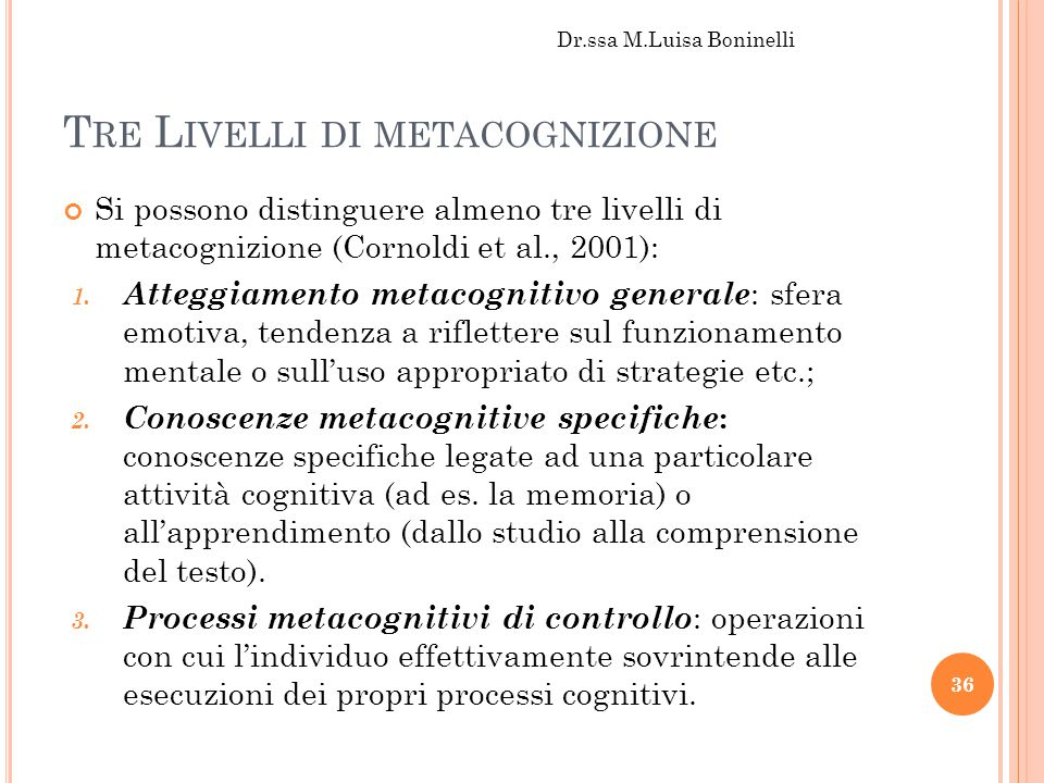 Tre Livelli di metacognizione