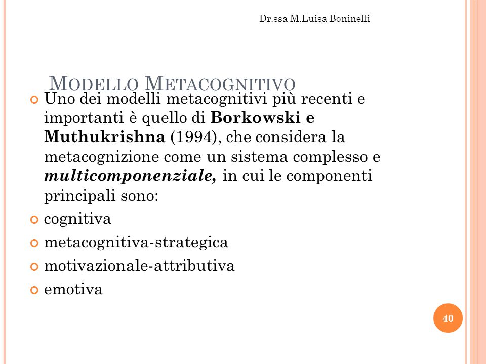 Modello Metacognitivo